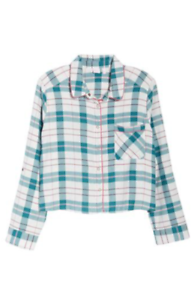 Make-Model-Cropped-Flannel-Pajama-Top-Ivory-Egret-Lily-Plaid