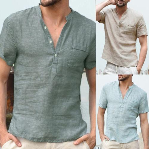 Summer Mens Cotton Linen T Shirt Henley Tops Casual Loose V Neck Short Sleeve