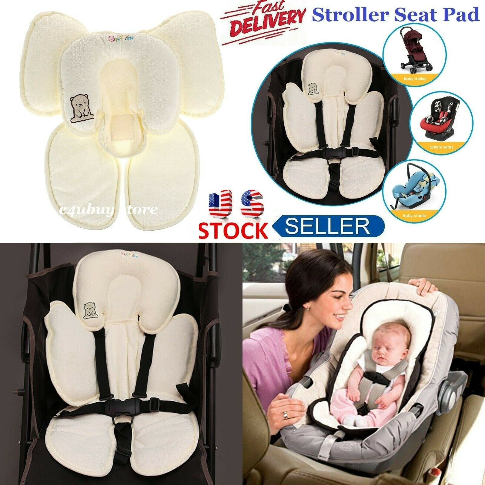 Baby Car Seat Stroller Cushion Pad Liner Mat Head Body Support Comfort Pillow For Sale Online Ebay