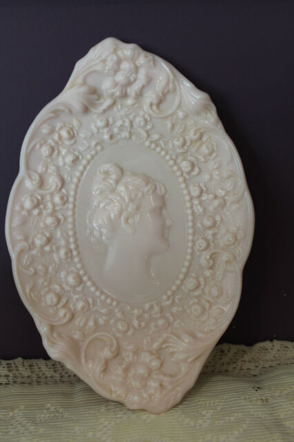 FOSTORIA PINK MILK GLASS JENNY LIND CAMEO EMBOSSED COMB & BRUSH TRAY