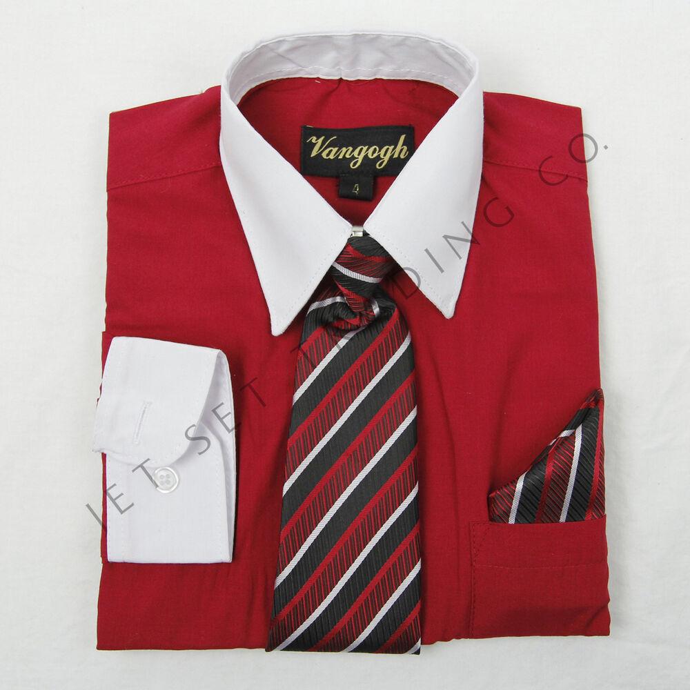 Amical Garçons Rouge Robe Chemise Blanc Contraste Avec Cravate & Mouchoir Manches Prix ModéRé