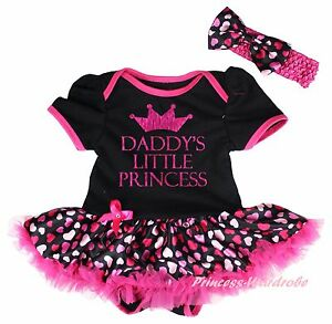 Daddy Little Princess Crown Pink Bodysuit Bling Sequins Girl Baby Dress NB-18M