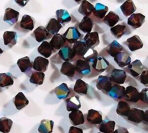 40-Garnet-AB-Boehmische-Glasperlen-4mm-Tschechische-Kristall-Perlen-BEST-X64
