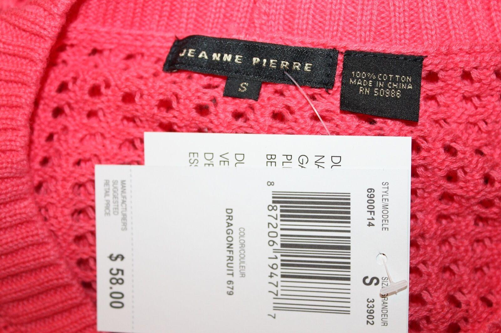 Jeanne Pierre - Donna S - Nuova con con con Etichetta - rosa Cotone Tessute Aperte bdcce9