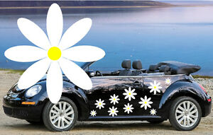 Voiture Graphique 24 Blanc /& Jaune Fleur Voiture Autocollants Fleur STICKERS VOITURE