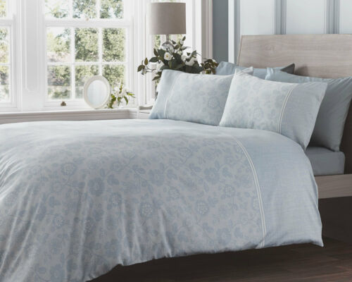 LACE EFFECT DUCK EGG BLUE DUVET COVER PRINTED FLORAL 300 THREAD COUNT SATEEN