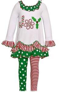 e4cbe8101c695 Bonnie Jean Baby Girl's 2-Piece Festive Red & Green JOY Tunic ...