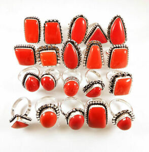 10 Pcs Wholesale Lot Red Coral Gemstone 925 Sterling Solid Silver Ring BR-17