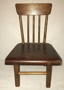 Antique Craftsman Plank Bottom Chair Original Hand Made Appalachian Doll Size