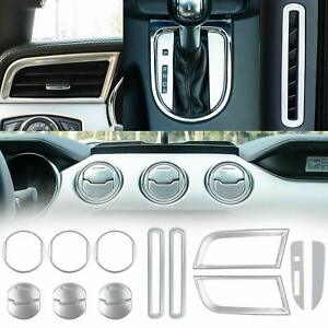 Dash Board Side Air Conditioner Outlet Vent Door 2015 2016 2017 2018 Ford Mustang Interior 15 PCS Accessories Decoration Set Console Central Red Chrome Shift Gear Box Switch Button Cover Trim
