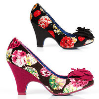 Poetic Licence Velvet Passion Womens Floral High Heel Retro Vintage Shoes