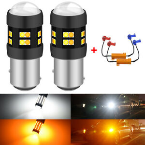 2x-1157-BAY15D-24-SMD-Canbus-Switchback-LED-Turn-Signal-Light-Bulbs-White-Amber