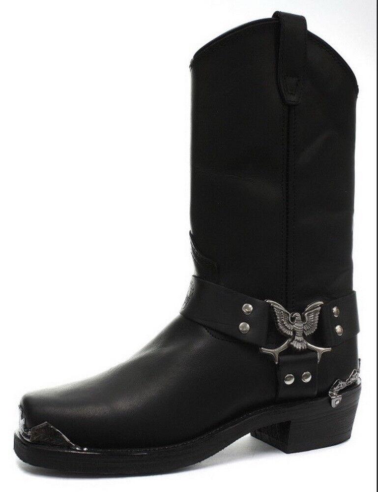 Grinders Men's Eagle High Cowboy Black Biker Leather Western Slip On Boots