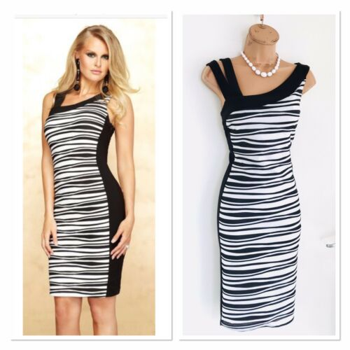 Frank Bodycon Lyman 12 amp; Dress 2 White Piece Jacket Striped Outfit Black Uk rrqAz6F