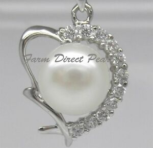 925-STERLING-SILVER-18-034-Genuine-HEART-Pearl-Pendant-Necklace-Cultured-Freshwater