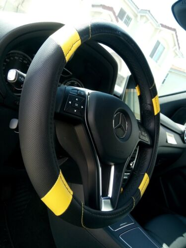 2018 Black /& Yellow Slip-On Style PU Steering Wheel Cover Perfect Fit Non-Slip