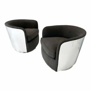 Fantastic Details About Mid Century Modern Milo Baughman Chrome Case Swivel Barrel Chairs A Pair Bralicious Painted Fabric Chair Ideas Braliciousco