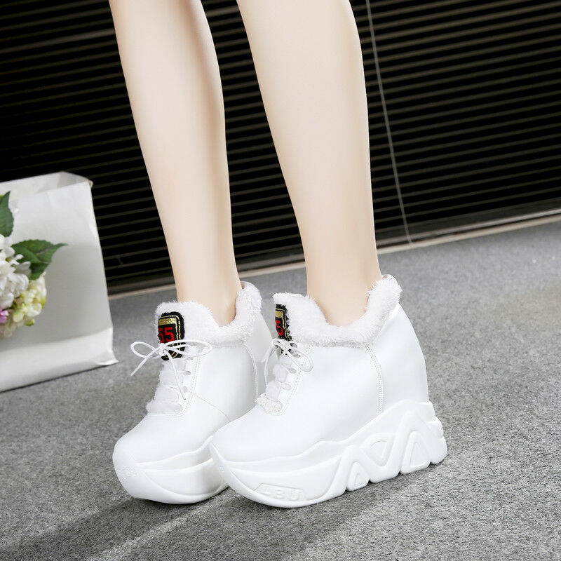 Womens Platform Wedge High Heel Sneakers Winter Ankle Boots shoes New
