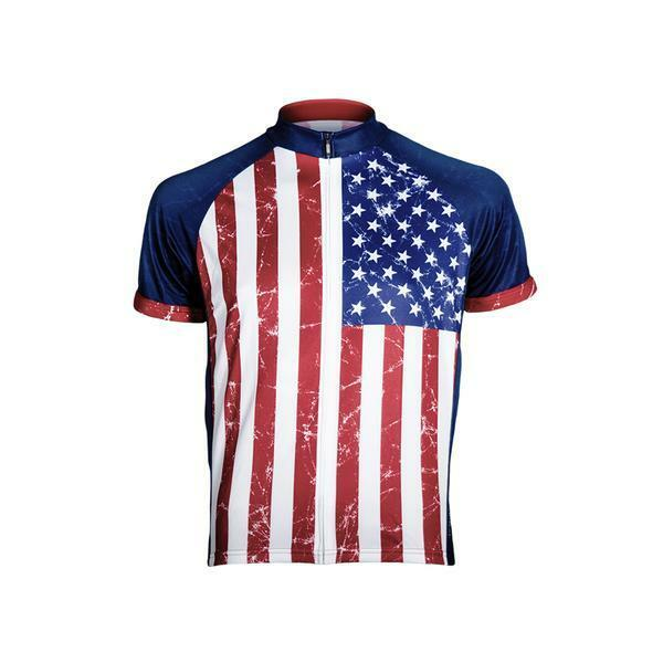 Primal Wear Stars & Stripes Men' Full Zip Short Sleeve  Sport Cycling Jersey