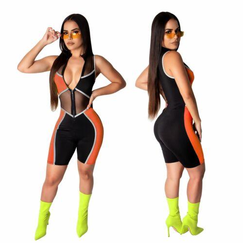 NEW Women/'s Sleeveless Zipper Mesh Color Patchwork Bodycon Sport Short Jumpsuit