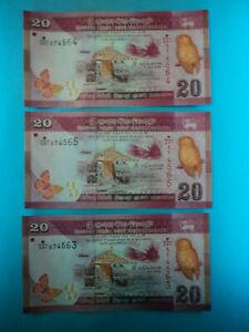 3 Billetes 20 Rupias , 2015 , Sri Lanka , P-123c , S/c-unc.
