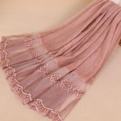 Women Muslim Islamic Embroidery Long Maxi Hijab Scarf Shawl Wrap Stole 200×85cm
