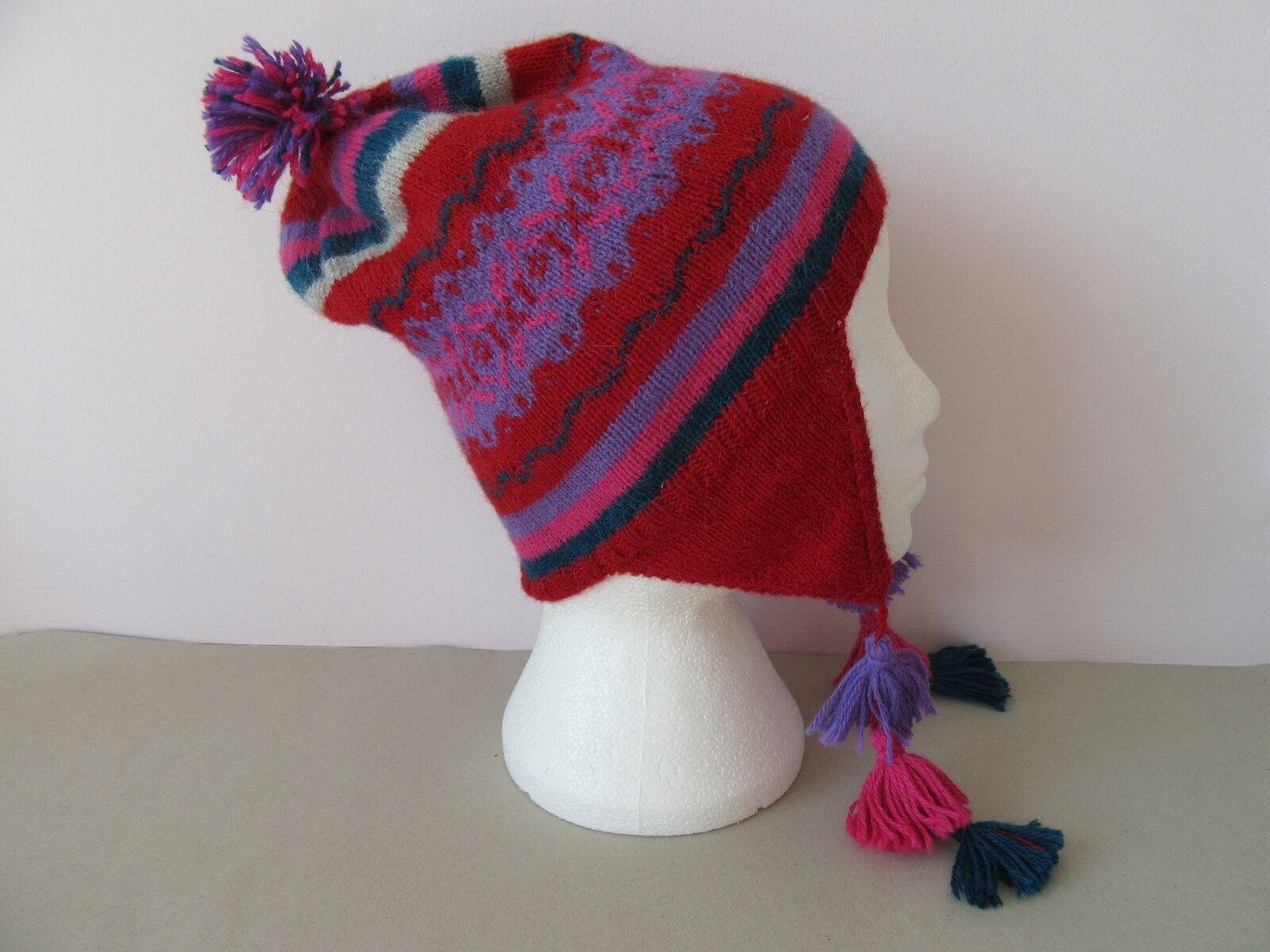 100/% Alpaca Wool Ethnic Peruvian Hand Knitted Girls Trapper Hat