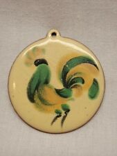 Rooster Pendant Chicken Cock Enamel Copper Yellow Green Vintage Chinese Zodiac