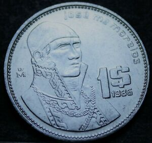 Mexico Peso, 1986 Gem Unc~Jose Morales~Stainless Steel Coin~Free Shipping