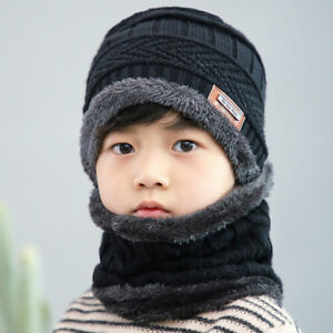 47e18a55d47 Children Boy Winter Knitted Beanie Hat and Scarf Set Kids Warm ...