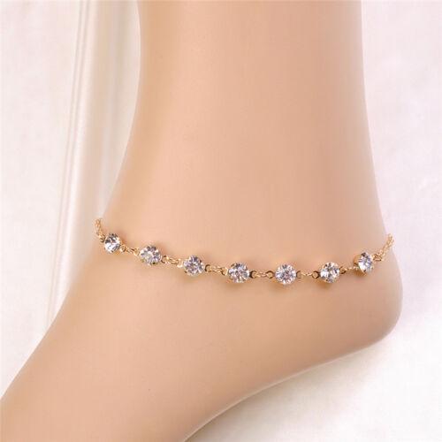 Kristall Strass Fußkettchen Armband Frauen Fußkettchen Kette Fuß Kette Stra   M