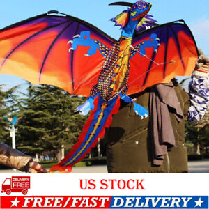3D-Dragon-Kite-Single-Line-With-Tail-Family-Outdoor-Sports-Toy-Children-Kids-US