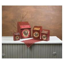 KITCHEN CANISTERS - Wooden Red Rooster Canisters - Set of 4 - Chicken - Vintage