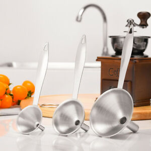 3pcs/Set Home Kitchen Mini Stainless Steel Funnel For All Kinds Of Hip Flasks US 652731140946