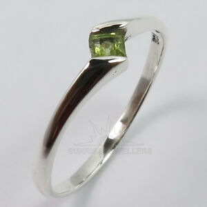 38b6ff9c21f7a Details about FINE EDH 925 Sterling Silver Cute Ring All Size Natural  PERIDOT Gemstone