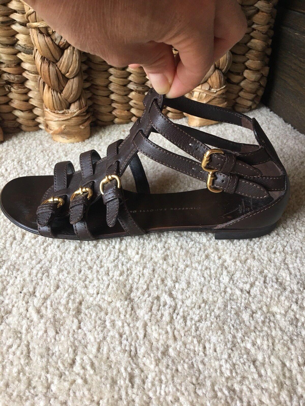 Auténtico Guiseppe Zanotti Marrón Cuero Sandalias Zapatos como nuevo  Raro