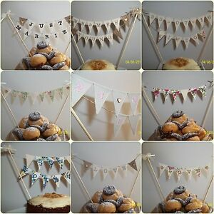 personalised wedding cake topper bunting embroidered wedding cake bunting topper choose message 18240