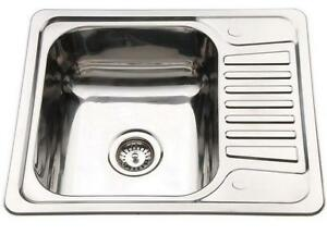 Small 1.0 Bowl Inset Compact Kitchen Sink Drainer Polished Stainless ...