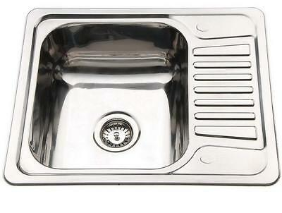 Small 1.0 Bowl Inset Compact Kitchen Sink Drainer Polished Stainless Steel B58