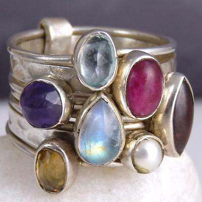 STACK 7 Rings SILVERSARI Size US 7.25 Solid 925 Sterling Silver + MULTIGEM