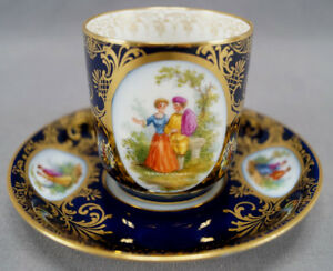 Richard Klemm Dresden Hand Painted Courting Couple Cobalt & Gold Demitasse Cup C