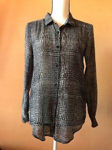 The-Kooples-Black-Cotton-Silk-Snake-Print-Button-Down-Blouse-Shirt-Top-Size-XS