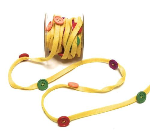 1m//0,60€ bunte Knöpfe Knopfband 4079 Dekoband 5m x 20mm Filzband gelb