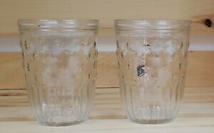 Vintage-Glass-Jelly-Jars-Clear-Starburst-2-No-Set-of-Two-2-No-Lids