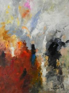 Original-Acrylic-Painting-on-Canvas-Abstract-Art-by-Hunoz-30-x-40-034