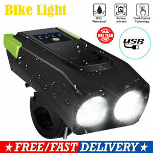 USB Rechargeable LED Bicycle Headlight Head Light Front Lamp Cycling//Horn  USA