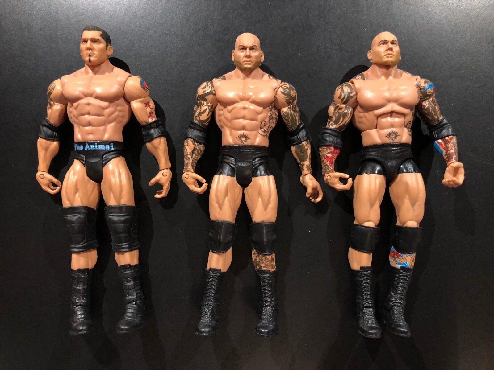 3 BATISTA'S WWE ACTION FIGURES LOT