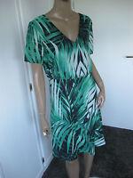 Peter Hahn zauberhaftes Kleid Gr.21/42 kurzarm mit Seide  schwarz/grün  NEU