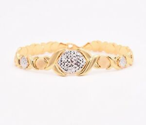 Hugs-amp-Kisses-Diamond-Cut-Bracelet-14K-Yellow-White-Gold-Clad-Silver-925-XOXO