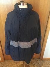 J112 Eddie Bauer Mens Large L Blue Gore Tex Hooded Jacket Coat Rain Nylon
